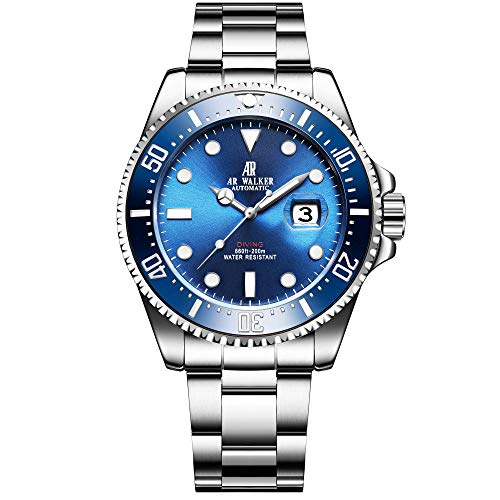 Men's Blue Automatic Mechanical Stainless Steel Diver Watch with Link Bracelet Watches for Men Collection (Blue)