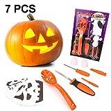 #5: WAPIKE Children's Pumpkin Carving Kit For Halloween-5 Tool Kit Set 2 LED Candles-10 Carving Templates