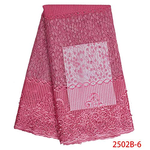 Top Selling African Lace French Lace Fabric Nigerian Lace Fabric for Women Wedding Dress,2502B-6 ()