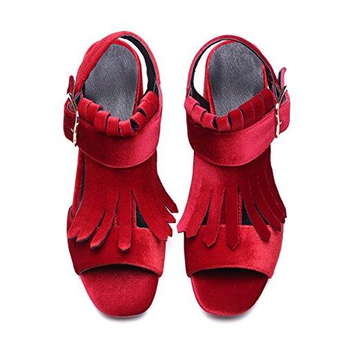 Alustan Tupsu Sandaalit Hihna Aiweiyi Solki Naisten Tyyli Korkokenkiä Sandaali Kengät Kesän Punainen UTXXx1q8Rw