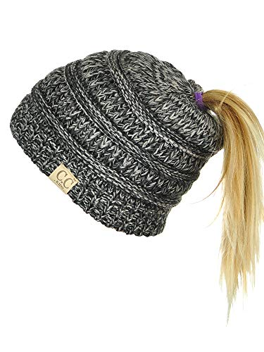 e95066329840e C.C BeanieTail Kids  Children s Soft Cable Knit Messy High Bun Ponytail  Beanie
