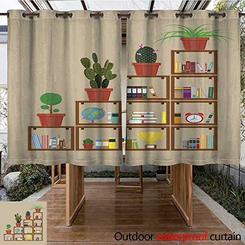 (RenteriaDecor Outdoor Curtains for Patio Sheer Library Book Shelf Bookcase with Different Books W108 x L72)