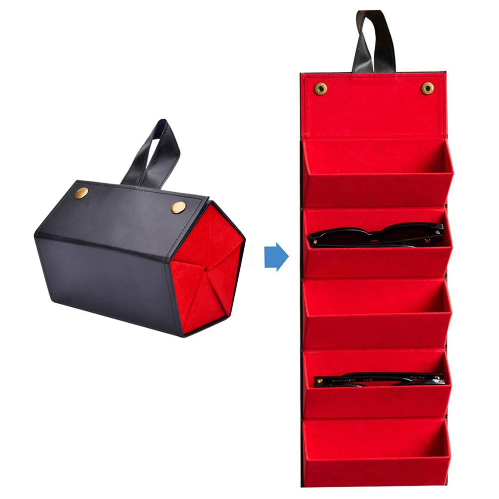 Multiple Leather Sunglasses  Travel Organizer Case Foldable Eyeglasses Storage Box Portable Eyewear Display Containers by Flora Jewel
