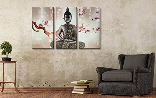 Winpeak Pure Hand Painted Framed Canvas Art Buddha Oil Paintings on Canvas 3 paenl Wall Decor Picture Artwork Hanging For Living Room Stretched Ready to Hang (48''W x 32''H (16''x32'' x3pcs)) by Winpeak Art