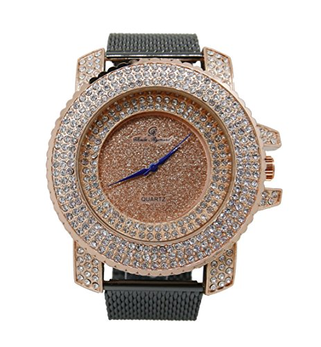 (Men's Black Gun Metal with Rose Gold Mesh Bracelet Hip Hop Watch - 7973 Mesh Gun Rose Gold )