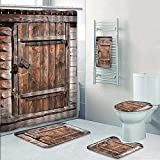 AmaPark Designer Bath Polyester 5-Piece Bathroom Set, Rustic Wooden Door of Old Barn in Farmhouse Countryside Village Aged Rural Life Shower Curtain/Toilet seat/Bath Towel