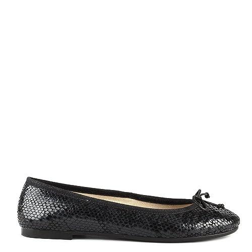 8b98e68d8153 Elia B Shoes Stefania Black Python Embossed Ballet Flat  Amazon.co ...