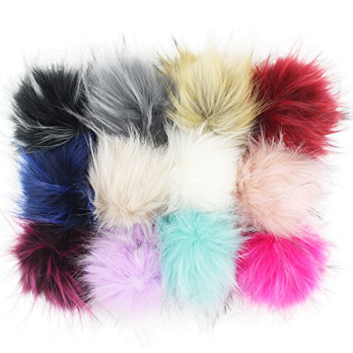 DIY 12pcs Faux Raccoon Fur 11cm Pom Pom Ball for Knitting Hat DIY Accessories (Mix Colors)]()