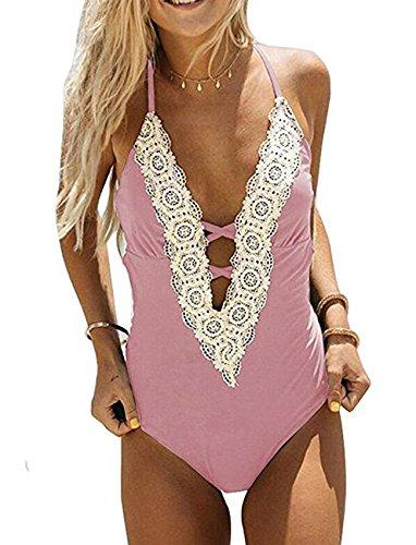 Ru Sweet Women's Lace Crochet V Neck Floral Lace High Cut Slim Beachwear One Piece Swimsuit ()