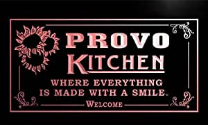 ps2281-r Provo Personalized Welcome Kitchen Bar Wine Neon Light Sign