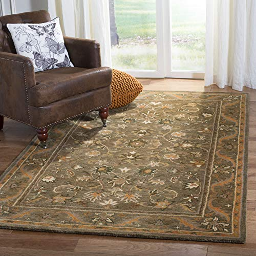 Safavieh Antiquities Collection AT52A Handmade Traditional Oriental Olive and Gold Wool Area Rug (3' x 5') (Wool Green Rugs)