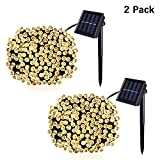 Jiamao 2 Pack Solar String Light 100LED 42.7ft 8 Modes Solar Christmas Lights Waterproof Outdoor Fairy String Lights for Gardens, Homes, Wedding, Party, Curtains, Outdoors (100LED2PACK, Warm White)