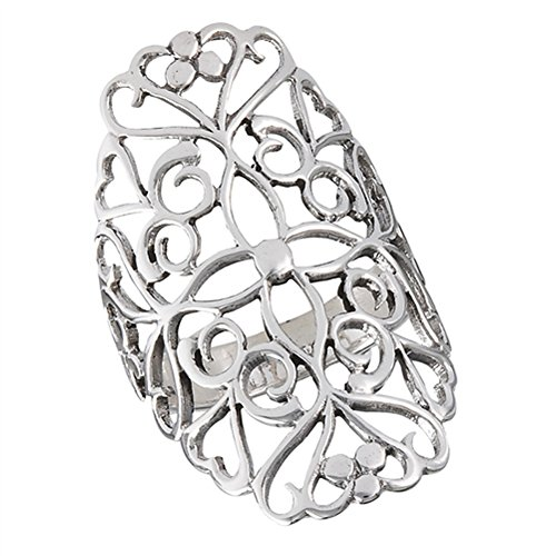 Filigree Ring Band - Wide Filigree Cross Heart Cutout Ring New .925 Sterling Silver Band Size 9