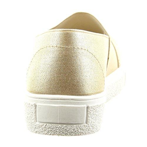 Sopily - damen Mode Schuhe Sneaker Slip-On Fertig Steppnähte - Gold