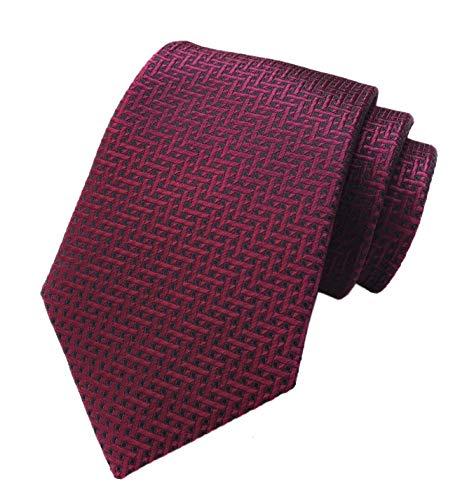 - Men Burgundy Red Black Ties Maze Patterned Accessory Evening Dress Suit Necktie