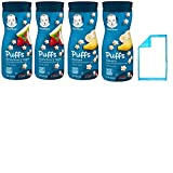 Gerber Puffs Baby Snacks Combo. Banana and Strawberry Apple Flavored Food Puffs. Convenient One-Stop Shopping For 2 Popular Baby Bulk Snacks. Crawler to 6 months. Babies Love Em! Includes Baby Pad.