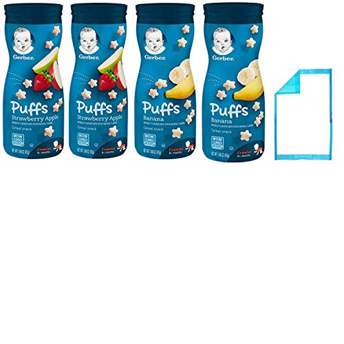 Gerber Puffs Baby Snacks Combo. Banana and Strawberry Apple Flavored Food Puffs. Convenient One-Stop Shopping For 2 Popular Baby Bulk Snacks. Crawler to 6 months. Babies Love Em! Includes Baby Pad. by Bundle