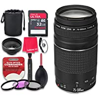 Canon EF 75–300mm f/4–5.6 III Lens with 32GB Ultra Pro Speed Class 10 SDHC Memory Card + 3pc Filter Kit (UV-FLD-CPL) + Deluxe Sleeve + Celltime Microfiber Cleaning Cloth - International Version