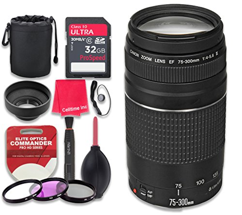 111 Night Dust - Canon EF 75-300mm f/4-5.6 III Lens with 32GB Ultra Pro Speed Class 10 SDHC Memory Card + 3pc Filter Kit (UV-FLD-CPL) + Deluxe Sleeve + Celltime Microfiber Cleaning Cloth - International Version