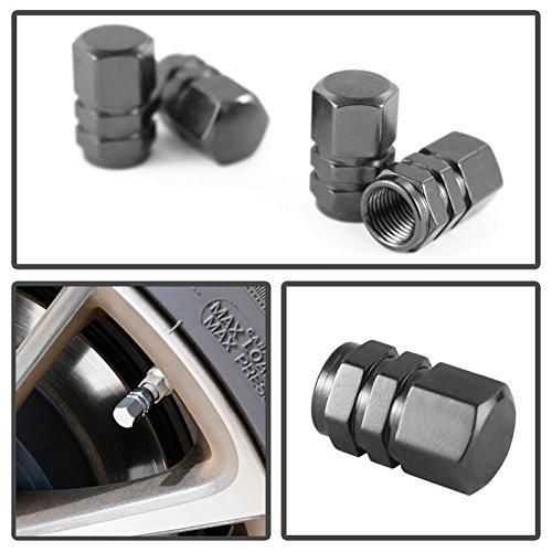 iJDMTOY (4) Tuner Racing Style Gun Metal Grey Aluminum Tire Valve Caps (Hexagon - Metal Grey Color Gun