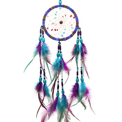 Ekatoo Dream Catcher 4.3 Inch Diamter Handmade with Feather and Beads Wall Hanging Decoration Ornament 17 Inch Long(Traditional Royal Blue & Purple)