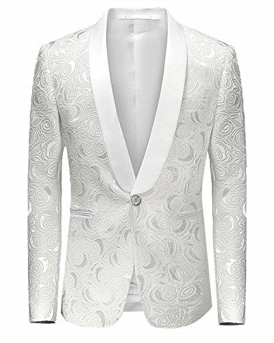 - CIC Collection Men's Fashion Floral Print Slim Fit Button Blazer Jacket