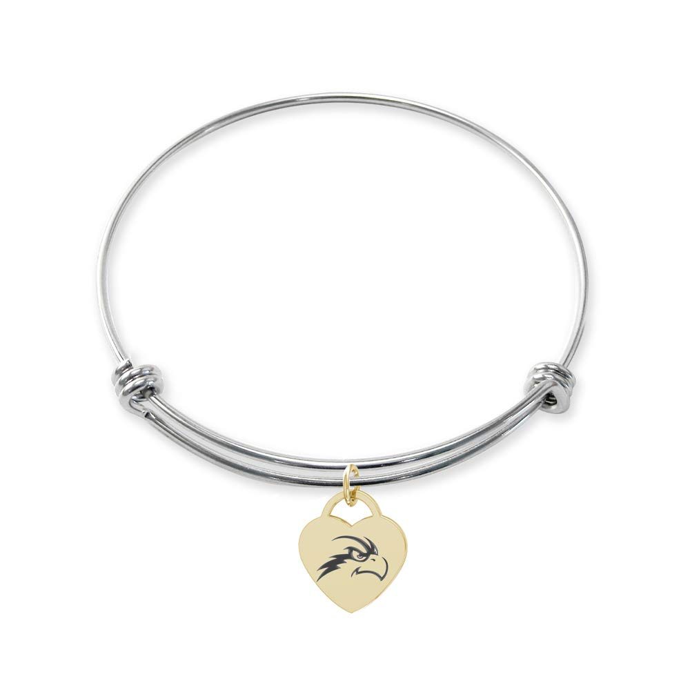 College Jewelry North Florida Ospreys Stainless Steel Adjustable Bangle Bracelet with Yellow Gold Plated Heart Charm