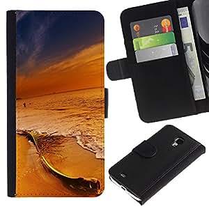 JackGot ( Colores en Sunset Beach ) Samsung Galaxy S4 Mini i9190 (NOT S4) la tarjeta de Crédito Slots PU Funda de cuero Monedero caso cubierta de piel