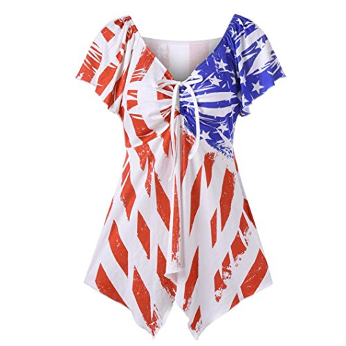 Tie Halter Denim (Blouse,kaifongfu Women Print American National Flag Bow Tie Top Casual Shirt Blouse Short Sleeved Long shirt with bow tie (XL, Red))