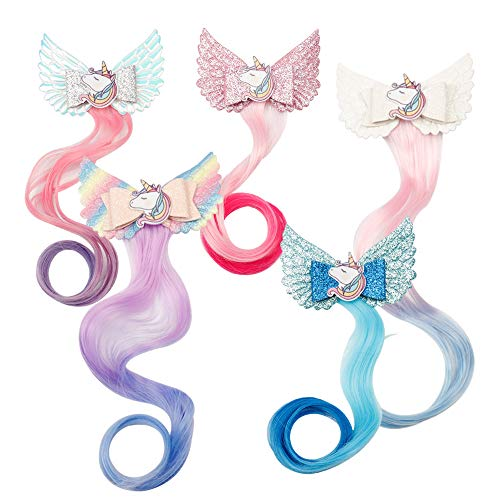 Oaoleer Unicorn Wig Braided Hair Clips Princess Boutique Hairgrips, Rapunzel Hairpiece Costume Accessories Pack of 5]()
