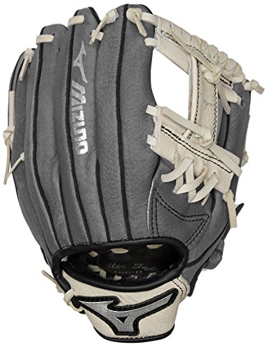 Kids Mitt - Mizuno Prospect Baseball Glove, Gray/Cream, Youth/Kids, 9