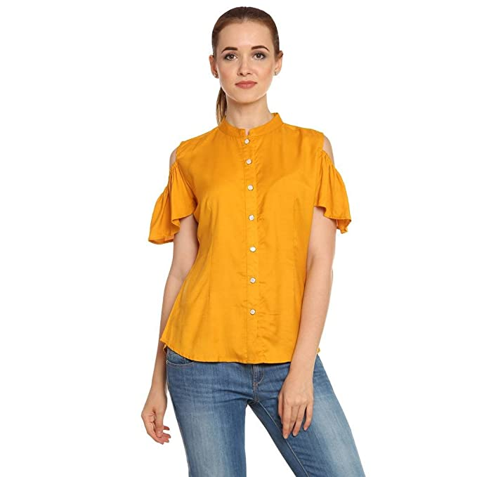 77289f1d660e7 Itsyor Off Sholder Mustard Color Casual Shirt Women  Amazon.in  Clothing    Accessories