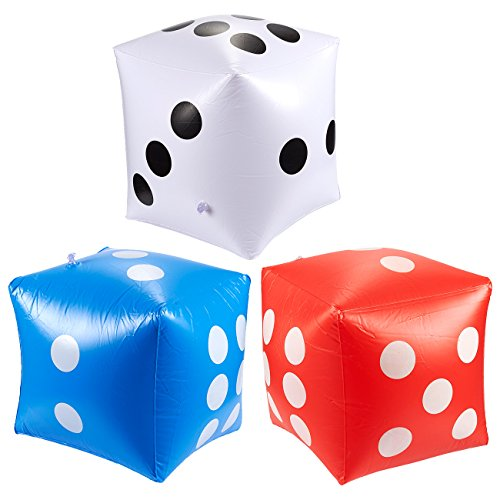 Jumbo Dice - Pack of 3 Inflatable Dice, Ideal for Pool Parties, Party Supplies,Multicolor, 15.75 x 15.75 x 15.75 ()