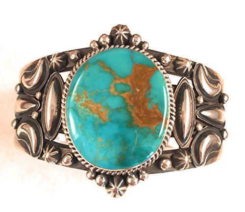 - Nizhoni Traders LLC Navajo Pilot Mountain Turquoise Sterling Silver Cuff Bracelet Signed