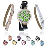 Essential Oil Bracelets for Women + 3 BONUS Bands   Aromatherapy Diffuser Bracelet   3 Leather Bands 1 Tree of Life Locket and 10 Colored Pads in a Beautiful Gift Box   Essential Oil Jewelry Gift Set