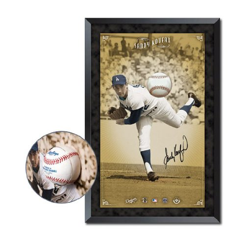 (Signed Sandy Koufax Photograph - Los Angeles Dodgers Breaking Through Display Piece Framed UDA)