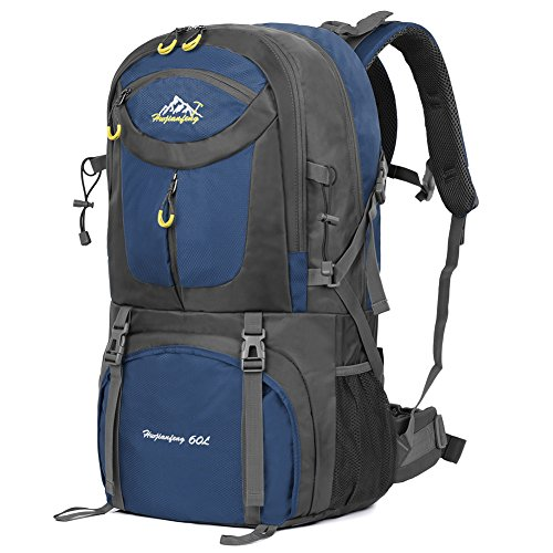 Vbiger 60L Hiking Backpack Waterproof Backpacking Pack Outdoor Sport Daypack with Rain Cover for Men and Women Climbing Hiking Trekking Mountaineering (Dark Blue)