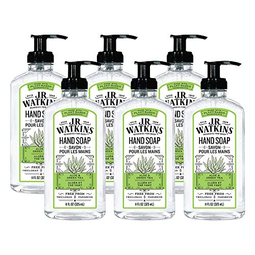 J.R. Watkins Hand Soap, Gel, 11 fl oz, Aloe & Green Tea (6 pack)
