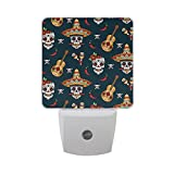 LED Night Light Mexican Sugar Skulls Auto Senor Dusk to Dawn Night Light Great for Bedroom Bathroom Living Room Hallway Any Dark Room, for Child and Adults by Saobao