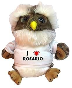 Búho de peluche con Amo Rosario en la camiseta (nombre de pila/apellido/apodo)