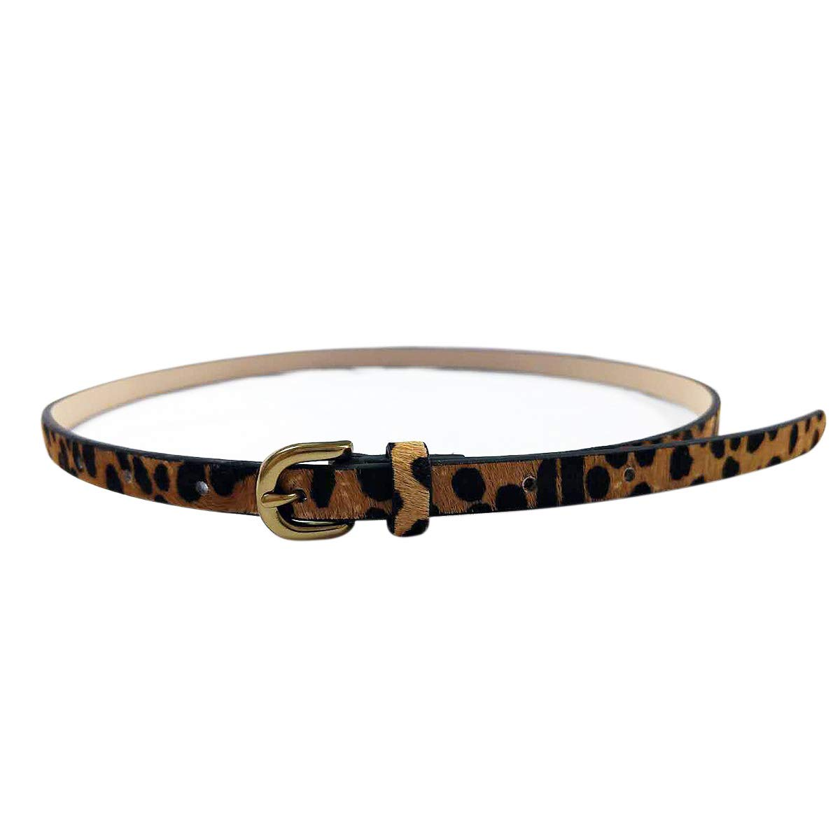 Leopard Print Belt Women's fashion leather Waist Belt Ladies Haircalf Belt Casual Waistband (S-(29.7''-35.8''))