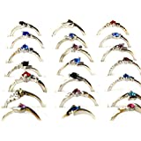 30Pcs Lots Fashion Jewelry Crystal CZ Rhinestone Silver Plate Rings (silver)