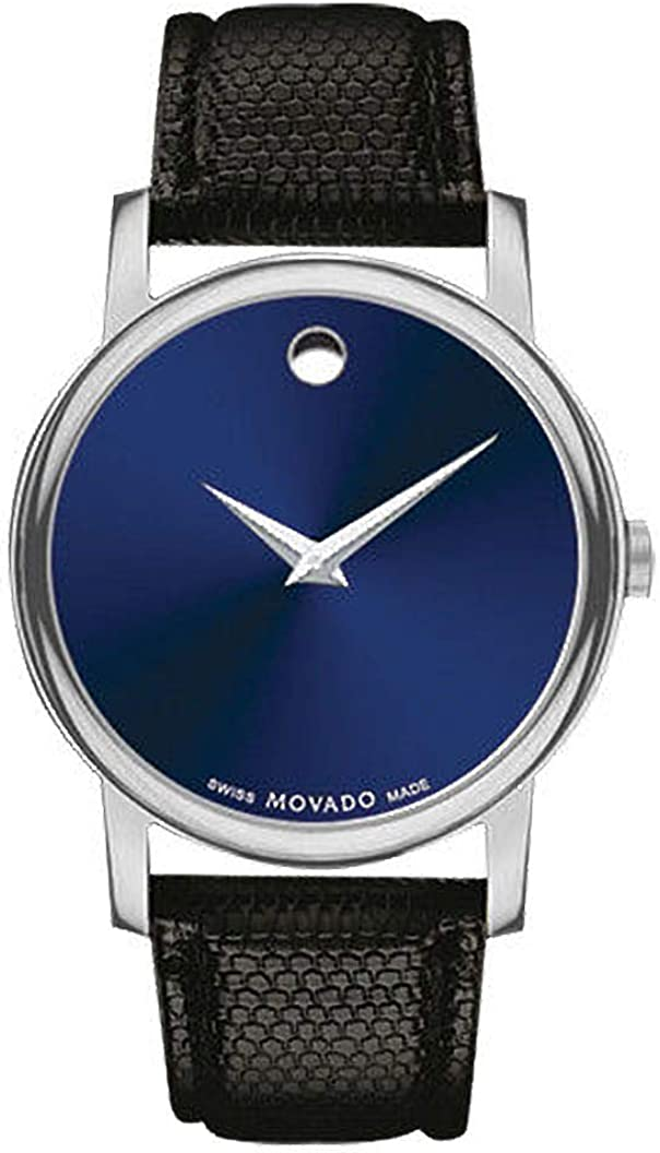 Movado Museum Blue Dial Black Leather Strap Men s Swiss Watch