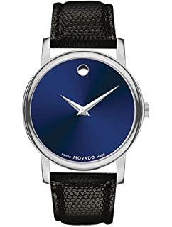 Amazon Com Movado Museum Blue Dial Black Leather Strap