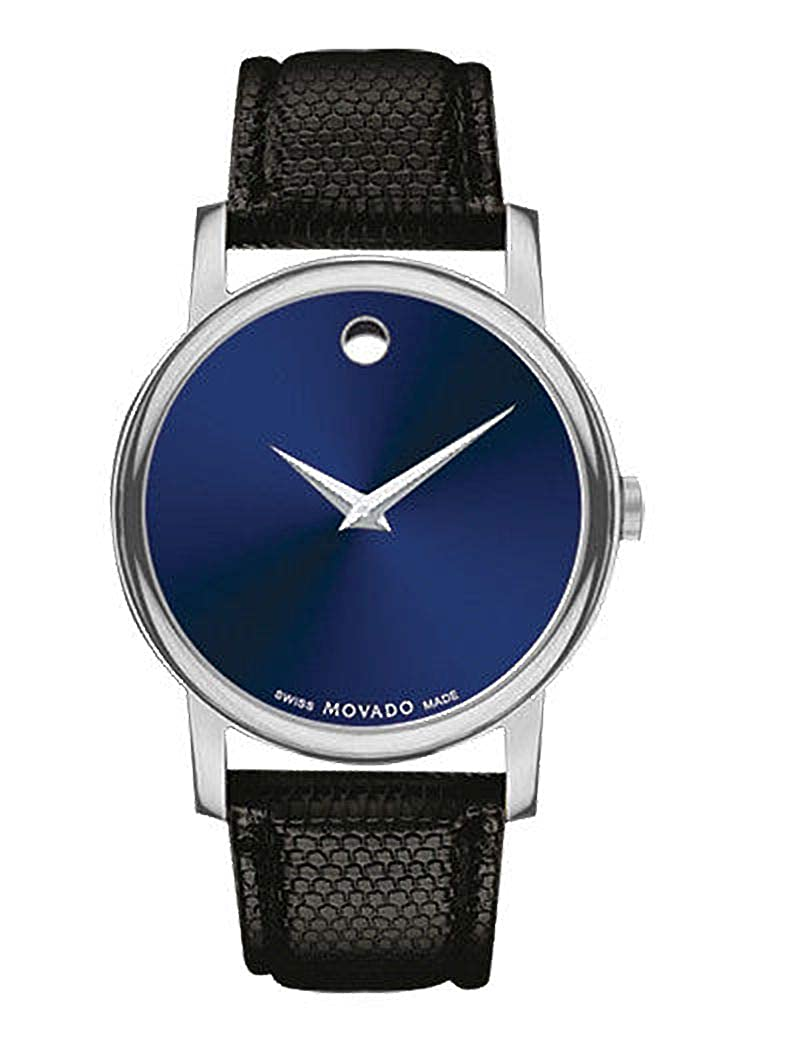 Movado Museum Blue Dial Black Leather Strap Men s Swiss Watch