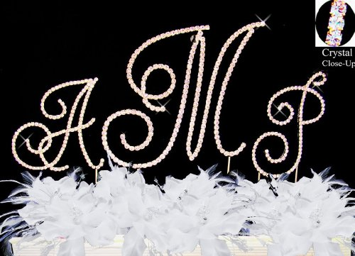 RaeBella Wedding Renaissance Monogram Wedding Cake Top GOLD Rhinestone Accent 3PC Letter Cake Topper Set by RaeBella Weddings & Events New York