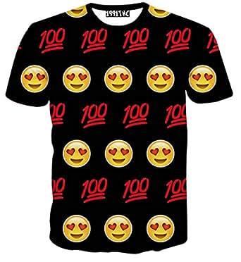 Women Men 3D Cartoon Face Emoji T-Shirt Summer Style - Size M