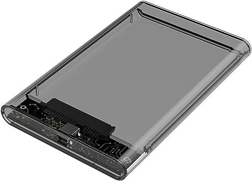 MMCRRX Caja SATA USB 2.0, Caja Externa Transparente para Disco Duro 2.5 HDD/mSATA SSD: Amazon.es: Electrónica