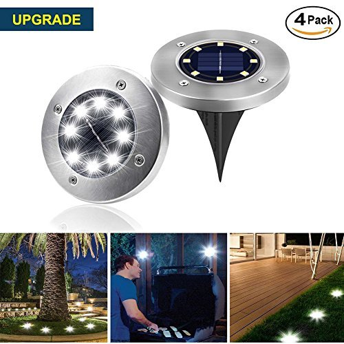 Sanming Outdoor Ground Lights,8 LED Garden Pathway Outdoor In-Ground Lights Waterproof for Patio Yard Driveway Landscape Lighting Walkway Lights(4 pack)