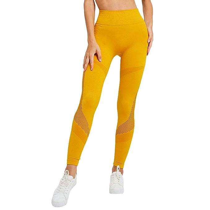 Yying Pantalones Yoga Ajustados Malla Femenina Pantalones ...